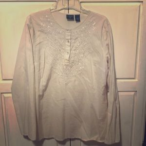 Tops - Creme Boho Shirt with bling Lg.